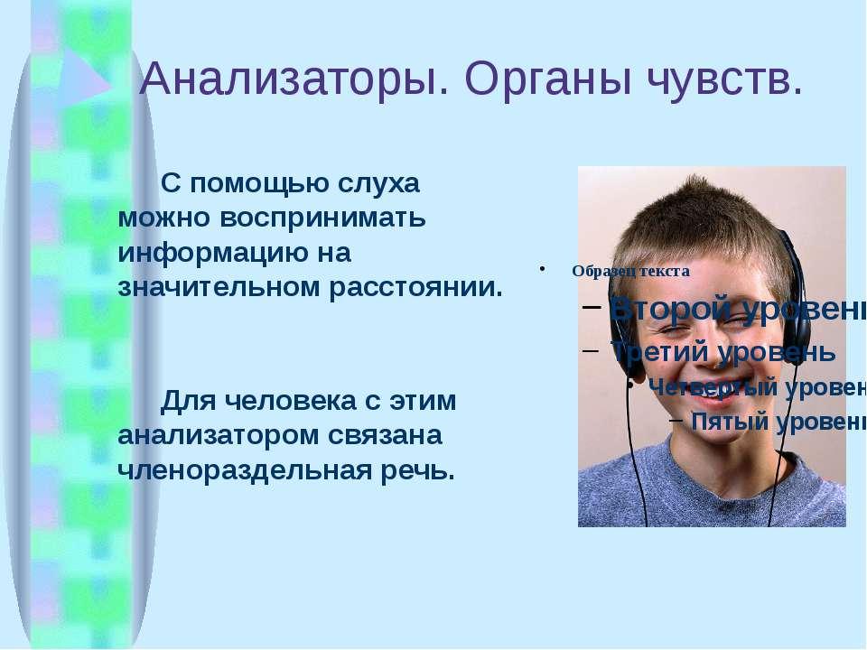 Анализаторы. Органы чувств. С помощью слуха можно воспринимать информацию на ...