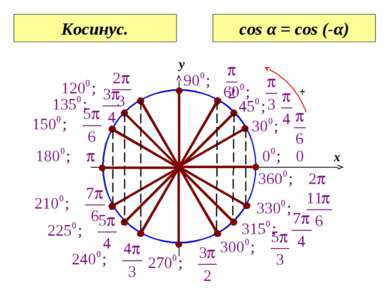 0 x y Косинус. cos α = cos (-α)