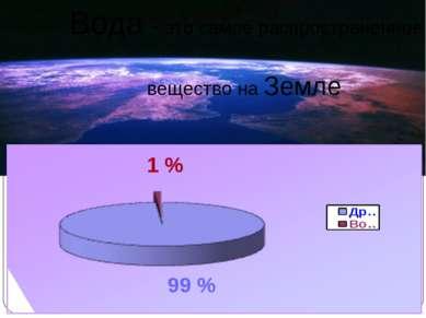 1 % 99 % Вода - это самое распространенное вещество на Земле