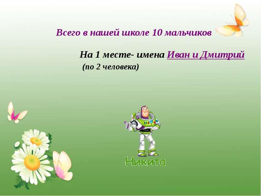 Всего в нашей школе 10 мальчиков На 1 месте- имена Иван и Дмитрий (по 2 челов...