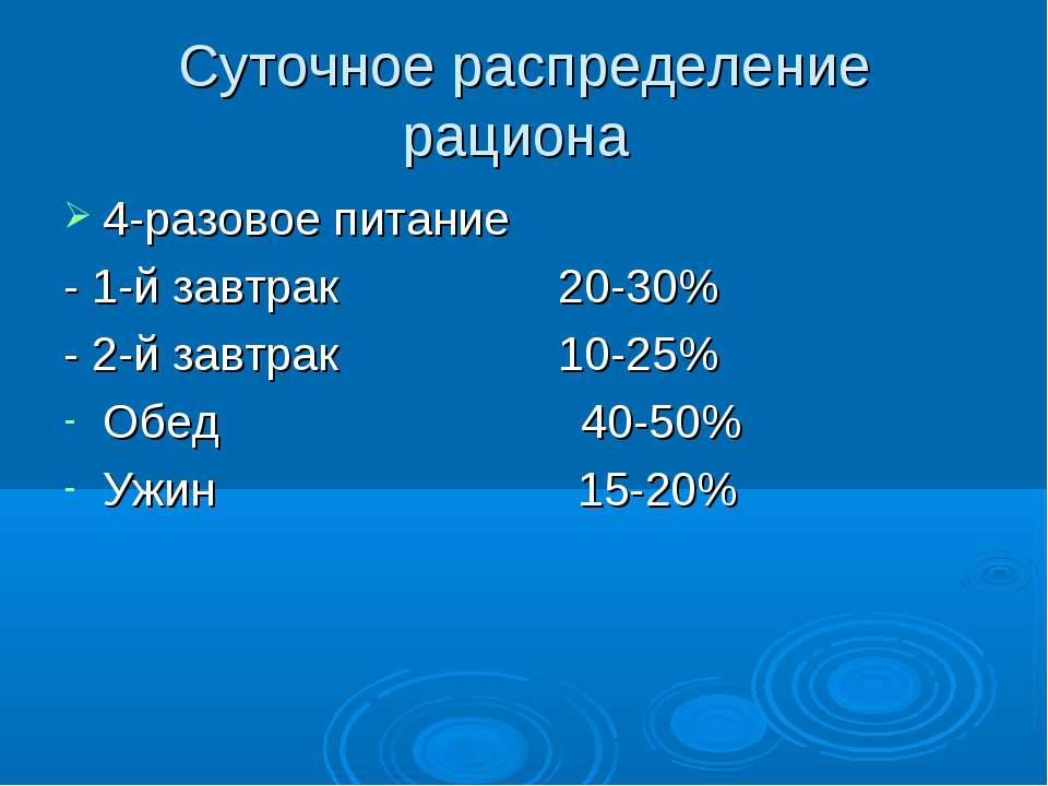 Суточное распределение рациона 4-разовое питание - 1-й завтрак 20-30% - 2-й з...