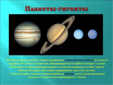 Четыре планеты-гиганта, также называются газовыми гигантами и все вместе соде...
