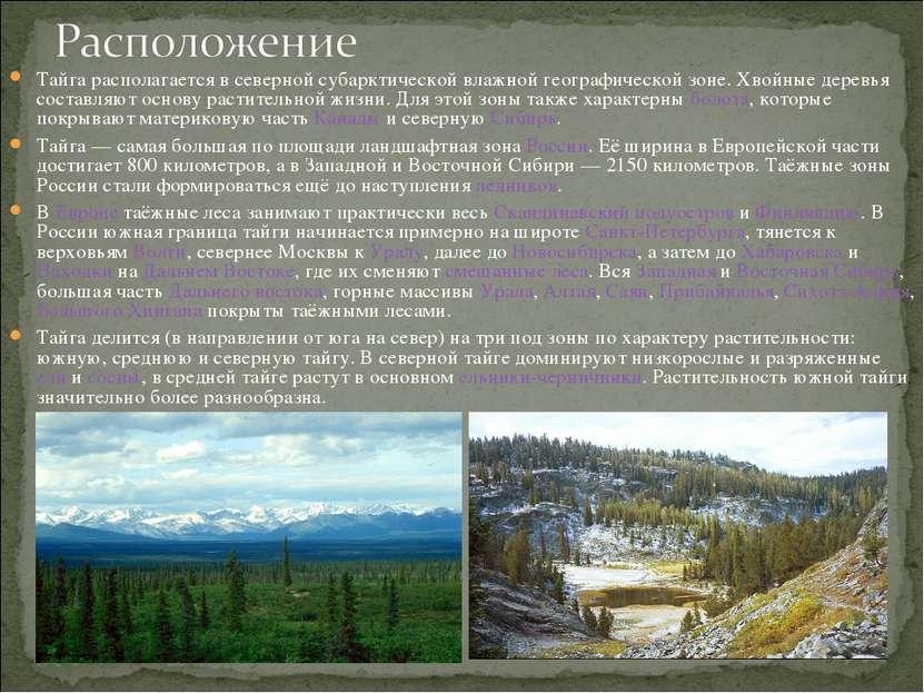 Тайга располагается в северной субарктической влажной географической зоне. Хв...