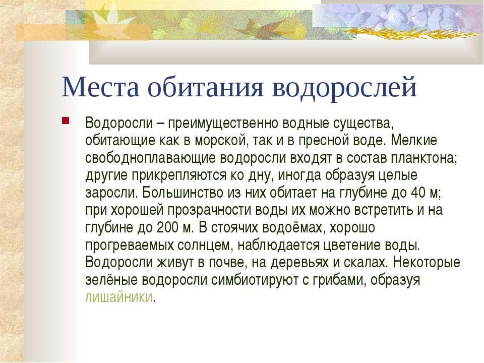 Места обитания водорослей Водоросли – преимущественно водные существа, обитаю...