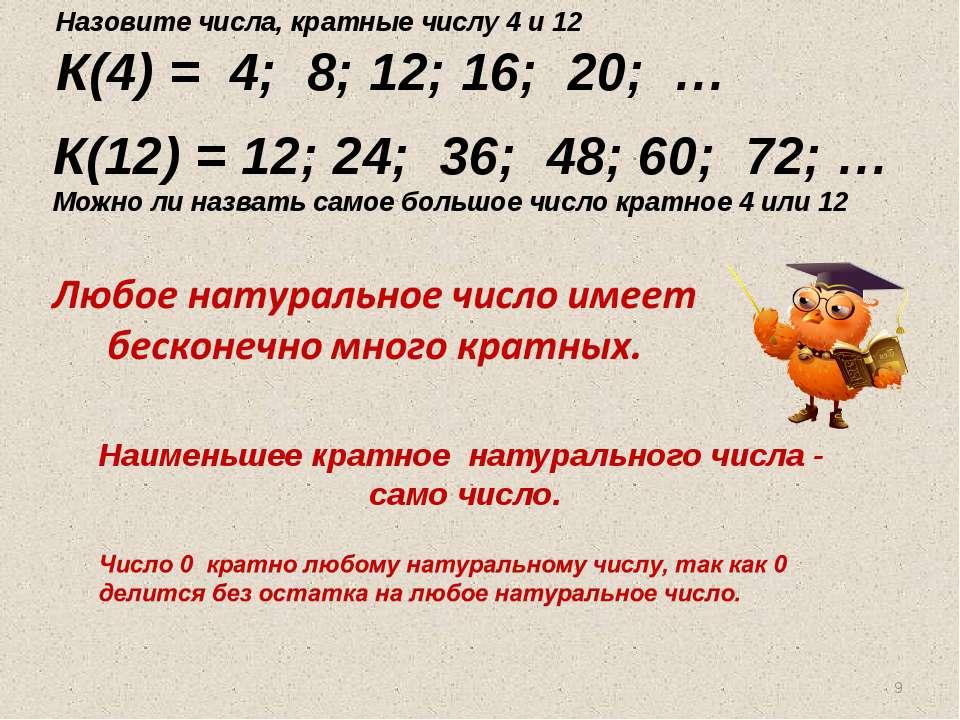 Наименьшее кратное натурального числа - само число. Назовите числа, кратные ч...