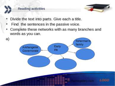 Reading activities Divide the text into parts. Give each a title. Find the se...