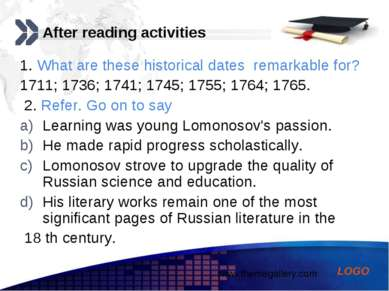 After reading activities 1. What are these historical dates remarkable for? 1...