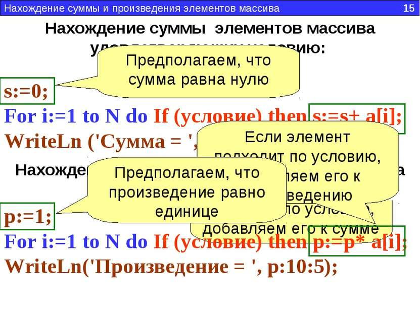 Нахождение суммы элементов массива удовлетворяющих условию: s:=0; For i:=1 to...