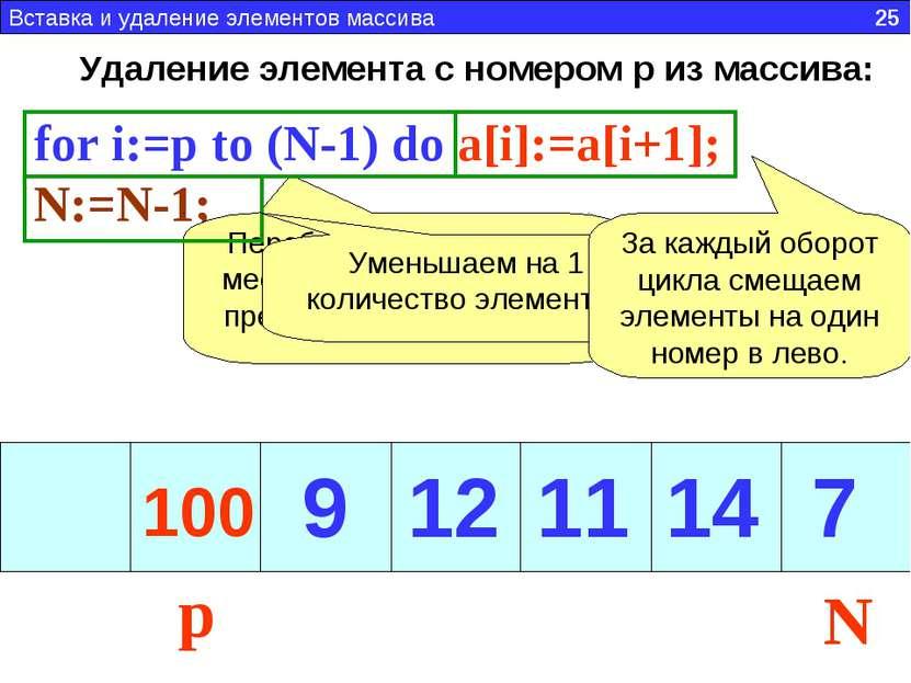 Удаление элемента с номером p из массива: for i:=p to (N-1) do a[i]:=a[i+1]; ...