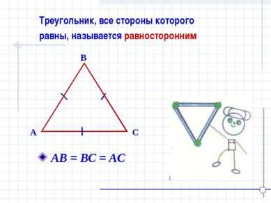 Треугольник, все стороны которого равны, называется равносторонним B A C АВ =...