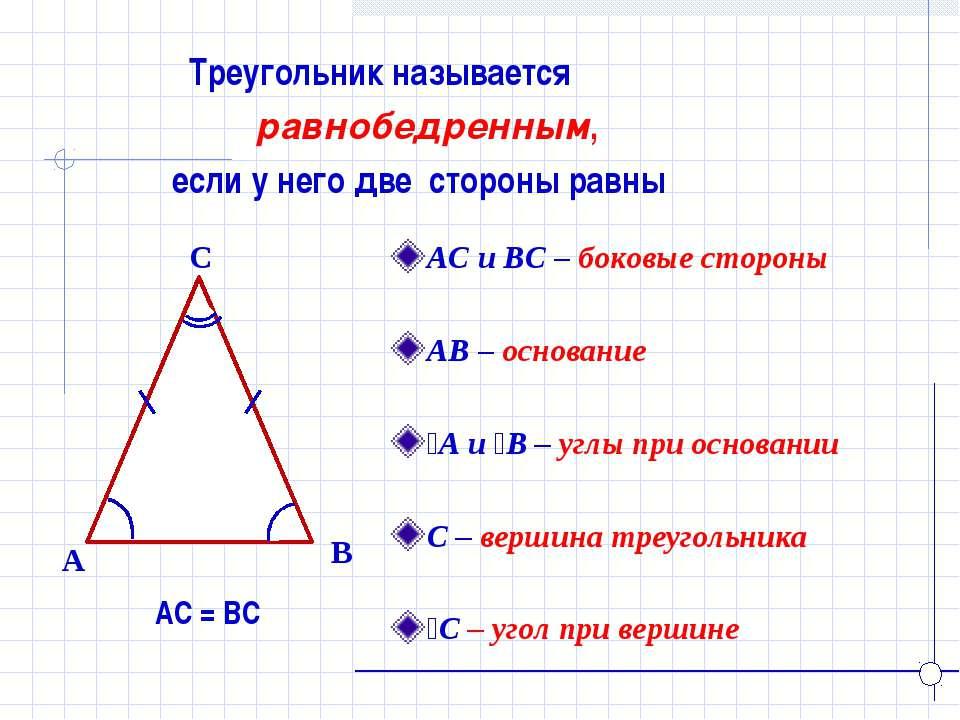 Треугольник называется равнобедренным, если у него две стороны равны B A C АС...
