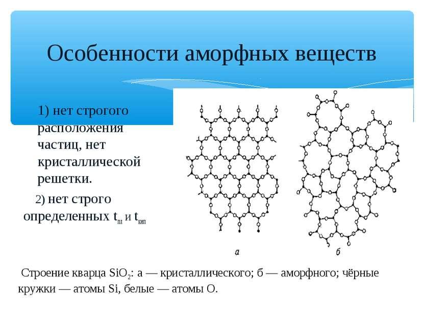 Особенности аморфных веществ 1) нет строгого расположения частиц, нет кристал...