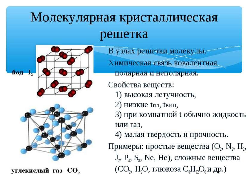 Молекулярная кристаллическая решетка В узлах решетки молекулы. Химическая свя...