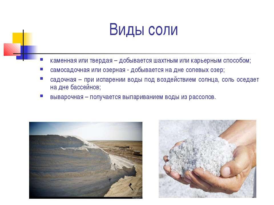 Виды соли каменная или твердая – добывается шахтным или карьерным способом; с...