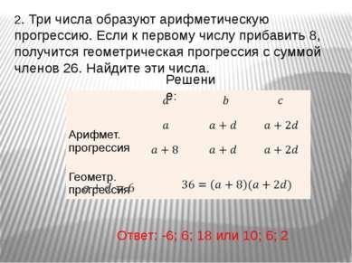 2. Три числа образуют арифметическую прогрессию. Если к первому числу прибави...