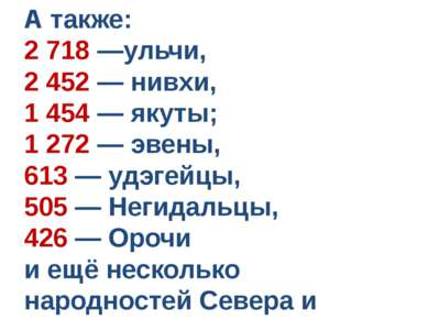 А также: 2 718 —ульчи, 2 452 — нивхи, 1 454 — якуты; 1 272 — эвены, 613 — удэ...