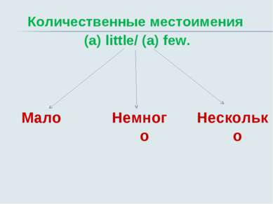 Количественные местоимения (a) little/ (a) few. Мало Несколько Немного