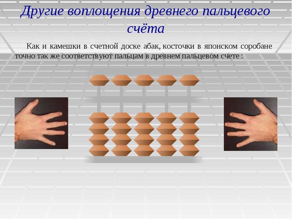 Другие воплощения древнего пальцевого счёта Как и камешки в счетной доске аба...