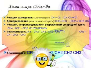 Химические свойства Реакции замещения: Галогенирование: CH4+ Cl2 →CH3Cl +HCl ...