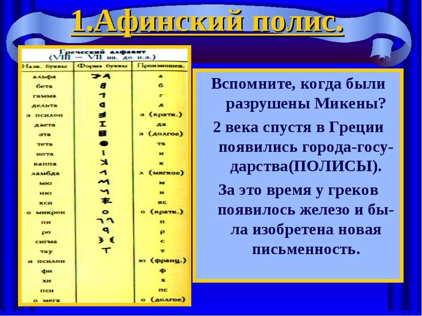 1.Афинский полис. Вспомните, когда были разрушены Микены? 2 века спустя в Гре...