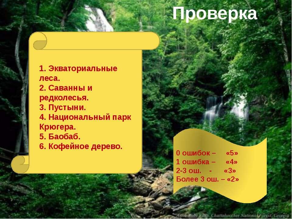 Проверка 1. Экваториальные леса. 2. Саванны и редколесья. 3. Пустыни. 4. Наци...
