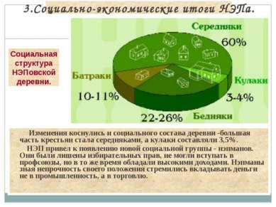 Изменения коснулись и социального состава деревни -большая часть крестьян ста...