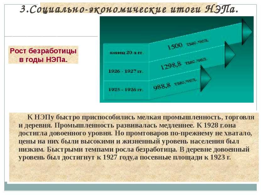 К НЭПу быстро приспособились мелкая промышленность, торговля и деревня. Промы...