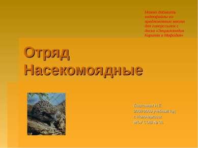 Отряд Насекомоядные Баштанник Н.Е. 2008-2009 учебный год г. Новочеркасск МОУ ...