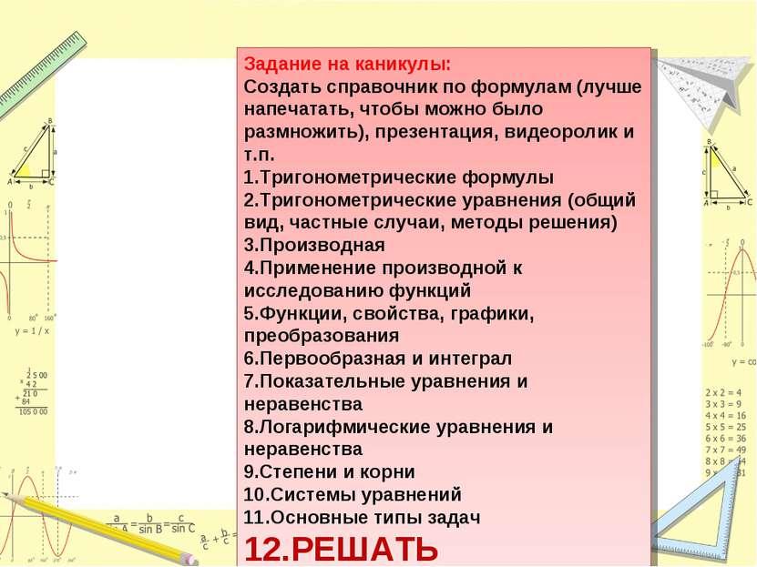 Задание на каникулы: Создать справочник по формулам (лучше напечатать, чтобы ...