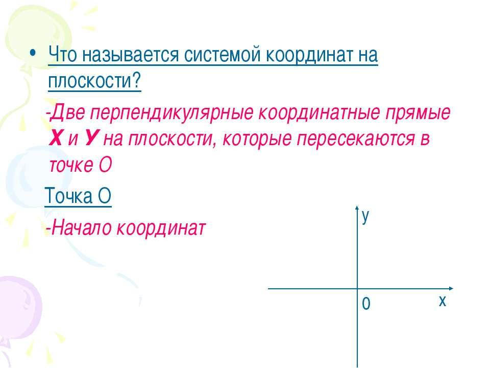 Что называется системой координат на плоскости? -Две перпендикулярные координ...
