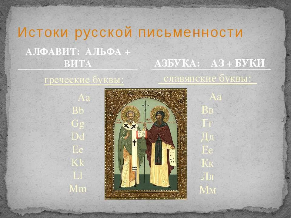 Истоки русской письменности АЗБУКА: АЗ + БУКИ греческие буквы: Aa Bb Gg Dd Ee...