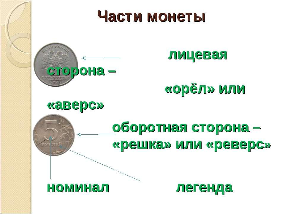 Части монеты лицевая сторона – «орёл» или «аверс» оборотная сторона – «решка»...
