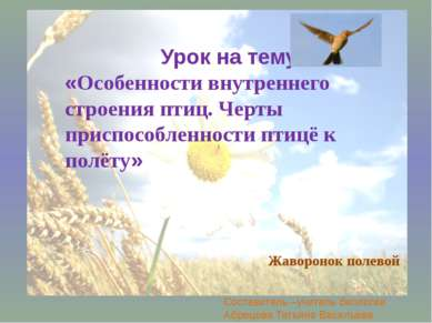 Урок на тему «Особенности внутреннего строения птиц. Черты приспособленности ...