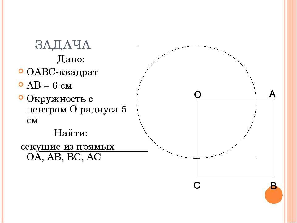 ЗАДАЧА Дано: OABC-квадрат AB = 6 см Окружность с центром O радиуса 5 см Найти...