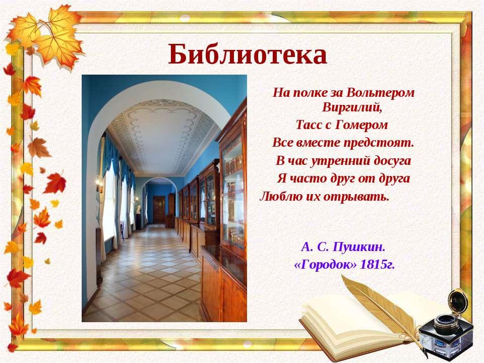 Библиотека На полке за Вольтером Виргилий, Тасс с Гомером Все вместе предстоя...