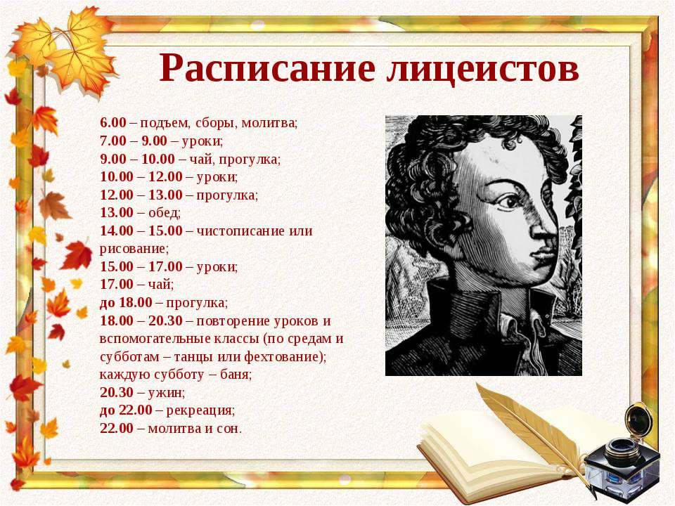 Расписание лицеистов 6.00 – подъем, сборы, молитва; 7.00 – 9.00 – уроки; 9.00...