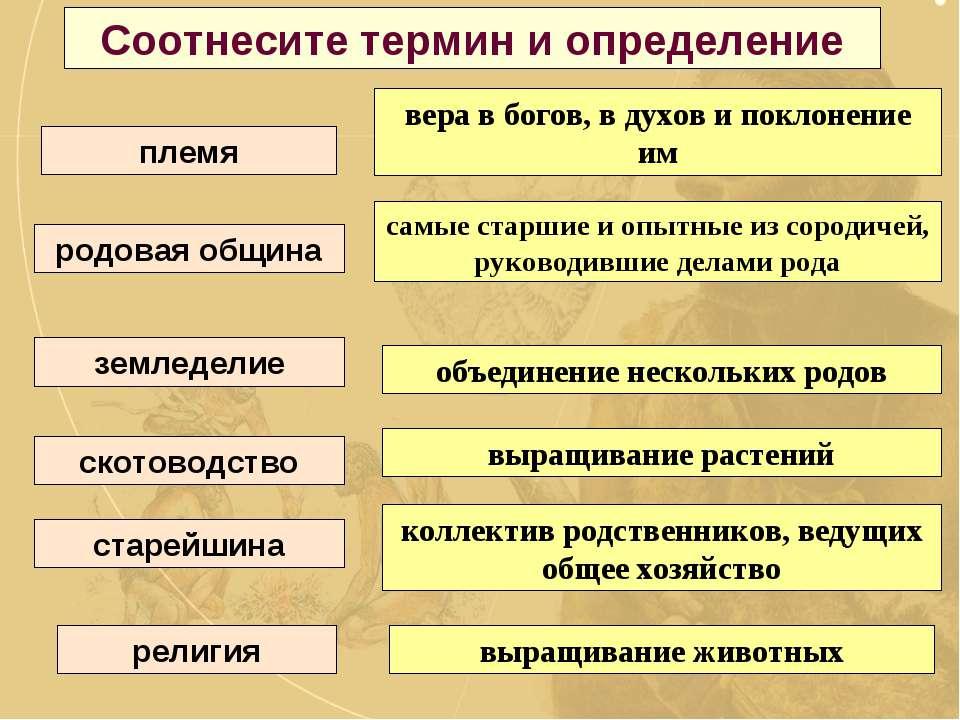 Соотнесите термин и определение родовая община земледелие скотоводство старей...