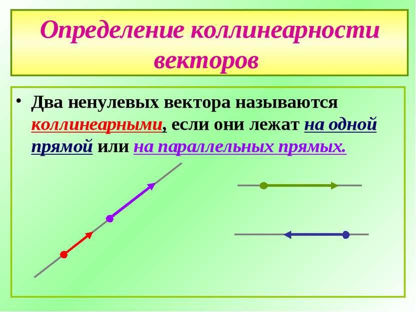 Определение коллинеарности векторов Два ненулевых вектора называются коллинеа...