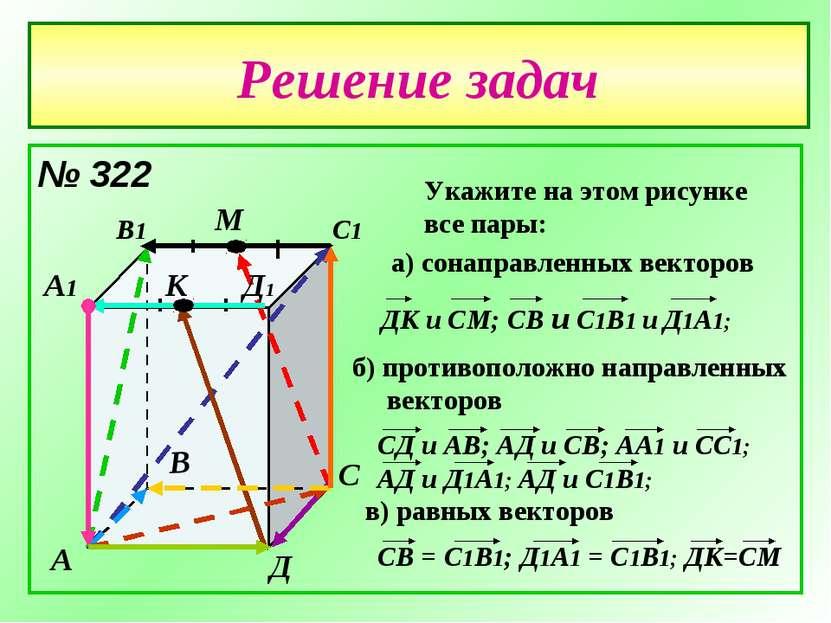 Решение задач № 322 А В С Д А1 В1 С1 Д1 М К Укажите на этом рисунке все пары:...