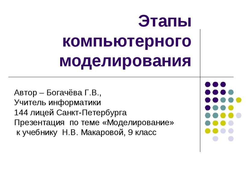 Этапы компьютерного моделирования Автор – Богачёва Г.В., Учитель информатики ...