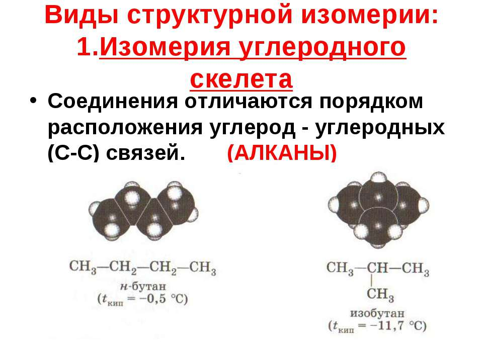 Виды структурной изомерии: 1.Изомерия углеродного скелета Соединения отличают...