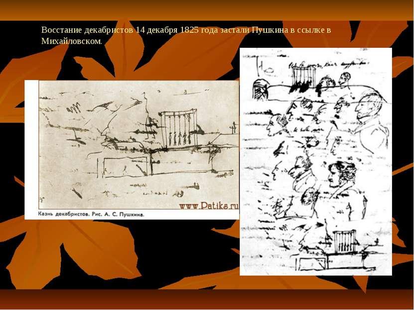 Восстание декабристов 14 декабря 1825 года застали Пушкина в ссылке в Михайло...