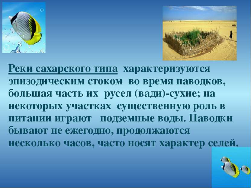 Реки сахарского типа характеризуются эпизодическим стоком во время паводков, ...