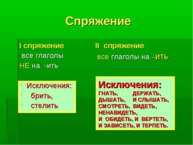 Спряжение I спряжение все глаголы НЕ на -ить Исключения: брить, стелить II сп...