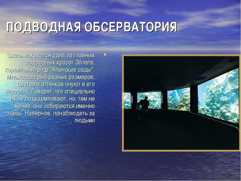ПОДВОДНАЯ ОБСЕРВАТОРИЯ Здесь находится одна из главных подводных красот Эйлат...