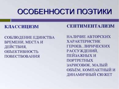 ОСОБЕННОСТИ ПОЭТИКИ КЛАССИЦИЗМ СОБЛЮДЕНИЕ ЕДИНСТВА ВРЕМЕНИ, МЕСТА И ДЕЙСТВИЯ,...