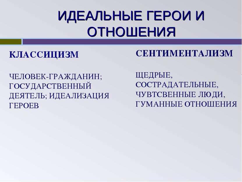 ИДЕАЛЬНЫЕ ГЕРОИ И ОТНОШЕНИЯ КЛАССИЦИЗМ ЧЕЛОВЕК-ГРАЖДАНИН; ГОСУДАРСТВЕННЫЙ ДЕЯ...