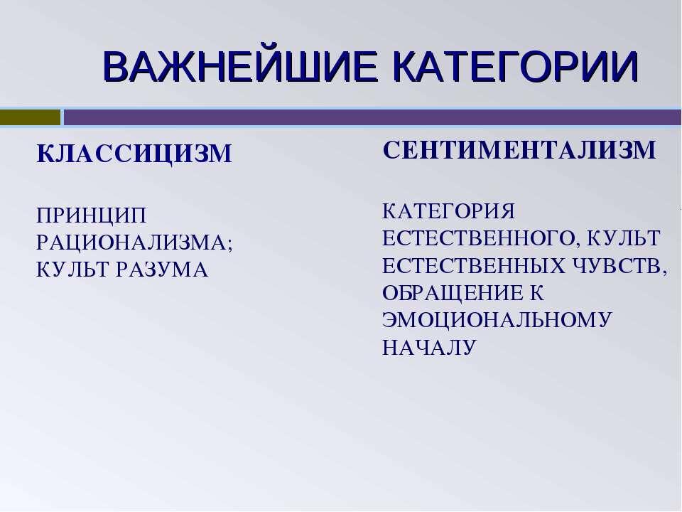 ВАЖНЕЙШИЕ КАТЕГОРИИ КЛАССИЦИЗМ ПРИНЦИП РАЦИОНАЛИЗМА; КУЛЬТ РАЗУМА СЕНТИМЕНТАЛ...