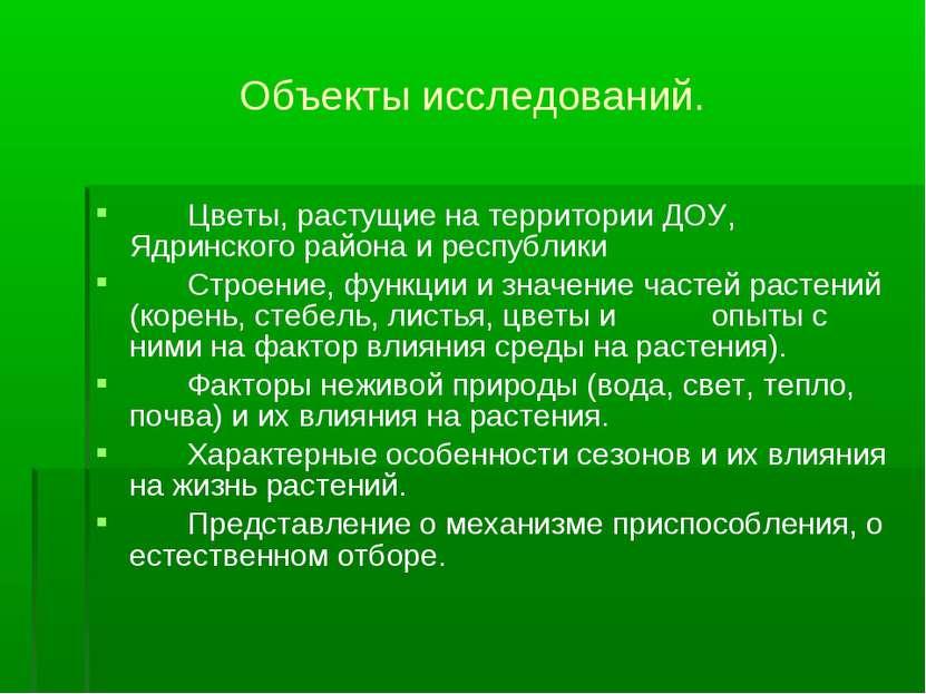Цветы, растущие на территории ДОУ, Ядринского района и республики Строение, ф...