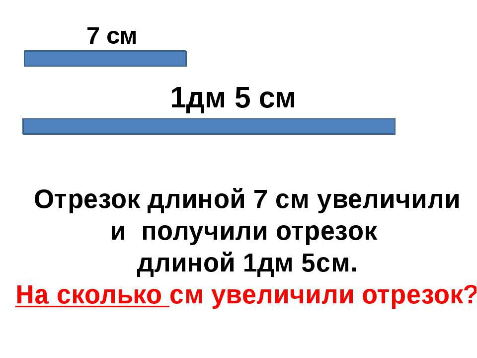 7 см 1дм 5 см Отрезок длиной 7 см увеличили и получили отрезок длиной 1дм 5см...